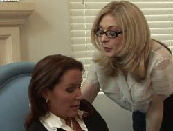 The luxurious large titted milfs Nina Hartley and Rachel Steele demonstrate the erotic underware that they wear below cloths and then have the hot lesbo fun together