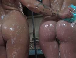 Youthful smoking hot brunettes Tegan and Lola Foxx with perfectly shaped firm butts and natural bumpers gets horny while having bath in the barn and start licking each others taut cunnies