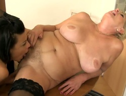 Golden-haired and Sally G. screams from endless orgasms after eating every others lesbo pussy