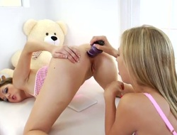 Chastity Lynn and hawt Kiera King love to have some lesbo anal action including many crazy toys