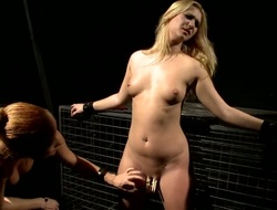 Blonde bitch Katy gets tied and roughly treated with her horny lesbian girlfriend Margarita