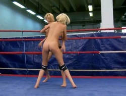 Pretty Antonya and alluring Blanche are fighting at the ring until they are absolutely nude