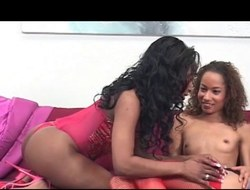 Slim swarthy lesbos teasing every other