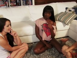 Lola Foxx and her best friend organized a hen-party to discuss their boyfriends and college sluts, but this sinless meeting turns into immodest lesbian 3some action.